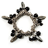 Silver Tone Link Bead Charm Flex Bracelet (Black)