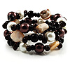 Black-Tone Beaded Shell-Composite Coil Bracelet (Black, White & Chocolate)