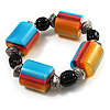 Chunky Multicoloured Resin & Ceramic Bead Flex Bracelet - 19cm Length