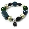 Glass, Ceramic & Plastic Bead Charm Flex Bracelet (Teal, Green & Black)