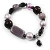 Glass, Ceramic & Plastic Bead Charm Flex Bracelet (Pale Lilac, Pink & Black)