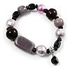 Glass, Ceramic & Plastic Bead Charm Flex Bracelet (Pale Lilac, Pink & Black)