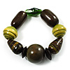 Chunky Olive Wood Bead Flex Bracelet - 18cm Length