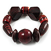 Chunky Dark Cherry Wood Bead Flex Bracelet - 18cm Length