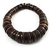 Button Shape Wood Flex Bracelet (Dark Brown &amp; Black)