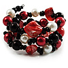 Black-Tone Beaded Shell-Composite Coil Bracelet (Black, White & Red)