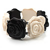 Black &amp; White Acrylic Rose Flex Bracelet