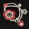 2-Strand Red Floral Charm Bead Flex Bracelet (Antique Silver Tone)