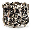 Wide Vintage Crystal Floral Flex Bracelet (Burn Silver Tone)