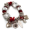 Silver Tone Red Coral Charm Flex Bracelet