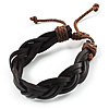 Dark Brown Braided Leather Wristband