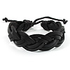 Black Braided Leather Wristband