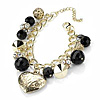 Gold Tone Heart, Bead &amp; Crystal Ball Charm Bracelet - 18cm Length