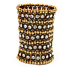 Wide Crystal Egyptian Style Flex Bracelet (Burn Gold Tone Finish) - 17cm Length