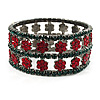 Swarovski Crystal Floral Flex Bracelet (Green & Red)