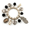 'Cameo, Feather, Heart & Pearl Beads' Charm Flex Bracelet (Silver Tone)