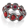 Gun Metal Red Acrylic Oval Flex Bracelet -19cm Length