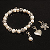 White Freshwater Pearl & Metal Bead  With Adjustable Charm Flex Bracelet