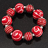 Red &amp; White Wood Bead Flex Bracelet - 19cm Length