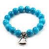Turquoise Style Bead Charm Heart Flex Bracelet -21cm Length