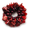 Chunky Burgundy Red Shell And Bead Flex Bracelet