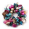 Chunky Multicoloured Shell And Bead Flex Bracelet