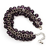 Purple Glass Bead Bracelet (Silver Tone Metal) - 16cm Length (Plus 5cm Extender)