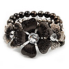 3 Strand Floral Bead Flex Bracelet (Gun Metal/ Antique Silver Finish) - 19cm Length