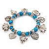 'Heart & Elephant' Turquoise Bead Charm Flex Bracelet (Silver Plated Metal)