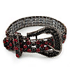Unique Black & Red Diamante 'Buckle' Bracelet In Gun Metal Finish - up to 19cm length