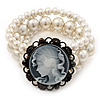 3-Strand Faux Pearl Cameo Flex Bracelet - up to 19cm wrist