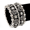 Wide Rose Crystal Flex Bracelet In Antique Silver Metal - Up to 19cm Length