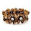 Antique Gold Floral Diamante Flex Bracelet - Up to 19cm length