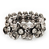 Antique Silver Floral Diamante Flex Bracelet - Up to 19cm length