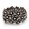 Wide Antique Silver Flower Diamante Flex Bracelet - Up to 19cm length