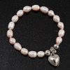 Pale Pink Freshwater Pearl Silver Metal &#039;Heart&#039; Flex Bracelet (Up To 19cm Length)