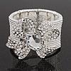 Diamante 'Bow' Flex Bracelet In Rhodium Plated Metal - up to 19cm Length