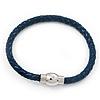 Navy Blue Leather Magnetic Bracelet -up to 20cm Length