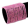 Wide Pink Glass Bead Flex Bracelet - up to 19cm wrist