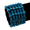 Teal Blue Multistrand Wood Bead Bracelet - up to 18cm wrist
