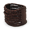 Wide Dark Brown Multistrand Wood Bead Bracelet - up to 20cm wrist