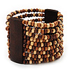 Wide Multistrand Wood Bead Bracelet - up to 20cm wrist