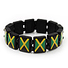 Black Wooden &#039;Jamaica Flag&#039; Stretch Bracelet - up to 20cm length