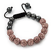 Pink Swarovski Crystal Balls &amp; Smooth Round Hematite Beads Shamballa Bracelet - 10mm - Adjustable