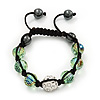 Light Green & Clear Crystal Balls Swarovski Shamballa Bracelet -10mm - Adjustable