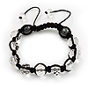 Unisex Transparent White Glass Beads Shamballa Bracelet - 10mm - Adjustable