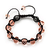 Unisex Transparent Pink Glass Beads Shamballa Bracelet - 10mm - Adjustable