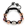 Transparent Pink & Clear Crystal Balls Swarovski Buddhist Bracelet -10mm - Adjustable
