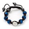 Metallic Blue & Clear Crystal Balls Swarovski Buddhist Bracelet -11mm - Adjustable
