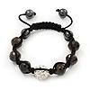 Jet Black & Clear Crystal Balls Swarovski Buddhist Bracelet -11mm - Adjustable